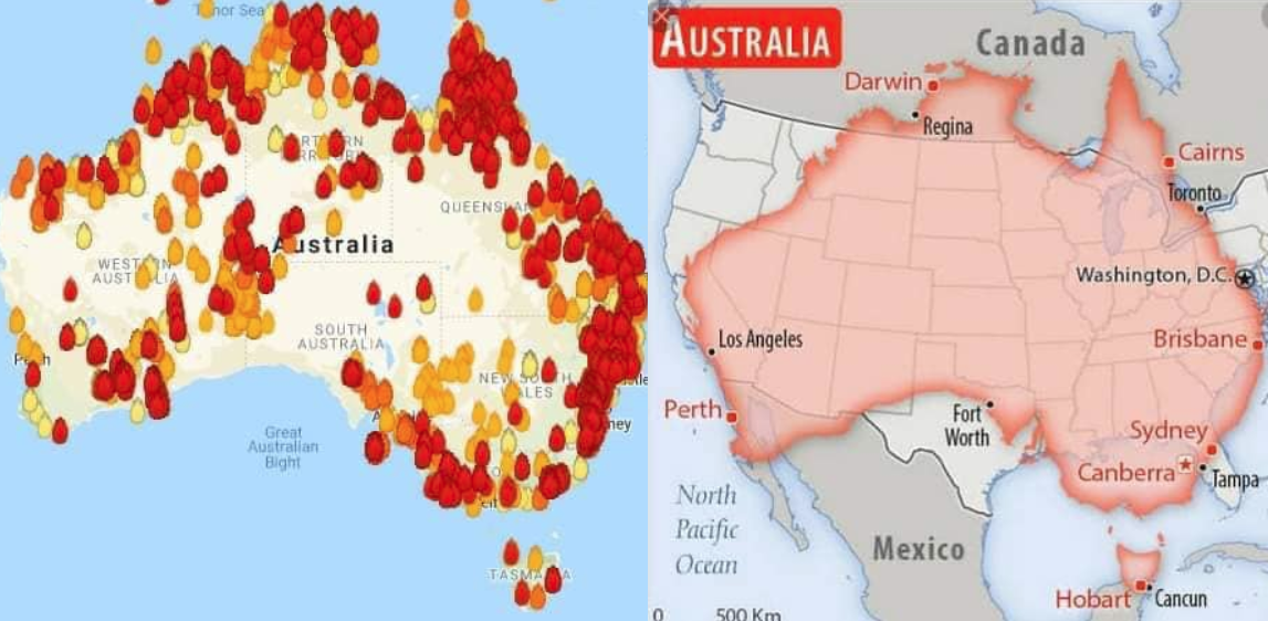 Australia On Us Map Map shows comparison of Australia to US as country struggles with