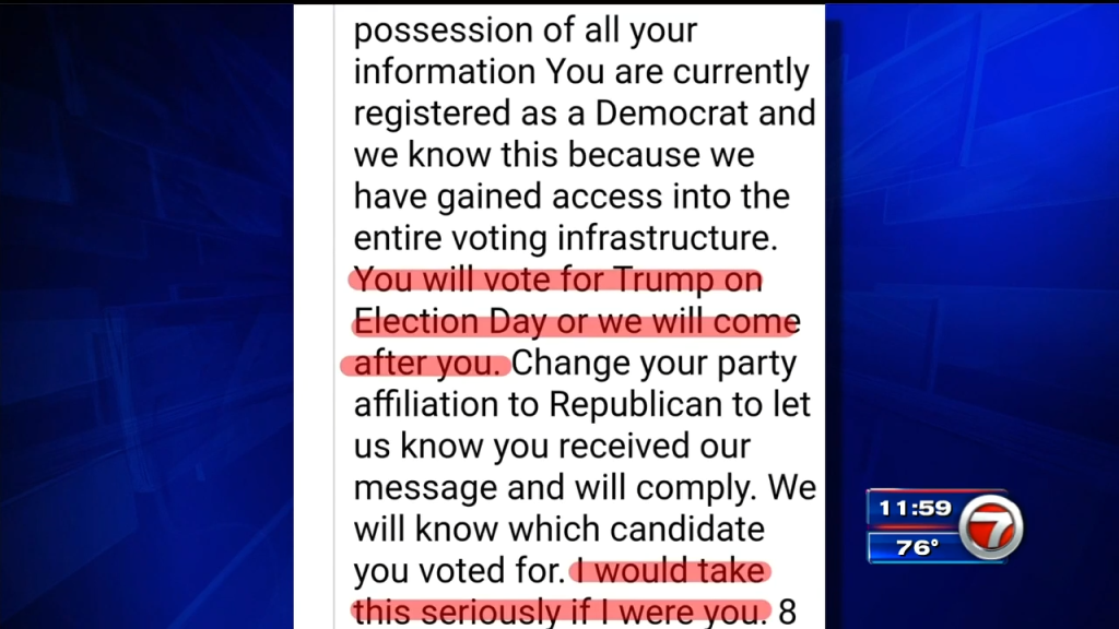 South Florida man receives threatening email as early voting begins in Florida