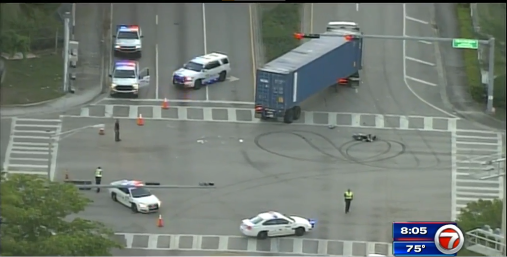 Man airlifted to hospital after motorcycle, semitrailer collide in Hialeah