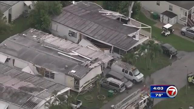 Unconfirmed tornado damaged mobile homes